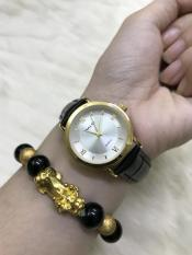 Đồng hồ nữ Halei 544 dây da thời thượng – TẶNG 1 vòng tỳ hưu phong thủy ( dây đen mặt trắng)