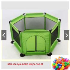 Khuây bóng khung thép kèm 100 bóng nhựa cho bé (Xanh lá)