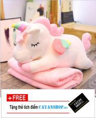 Gối mền kỳ lân 3 trong 1 siêu cute, nỉ nhung cực mịn, chăn gối văn phòng unicorn ngựa pony 1 sừng, gấu bông CATAN shop, quà tặng sinh nhật 8/3 20/10 [ Hãy Trao Cho Anh]