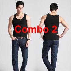 COMBO 2 Áo thun ba lỗ nam, 100% cotton, áo phông thoát nhiệt Nhật Bản