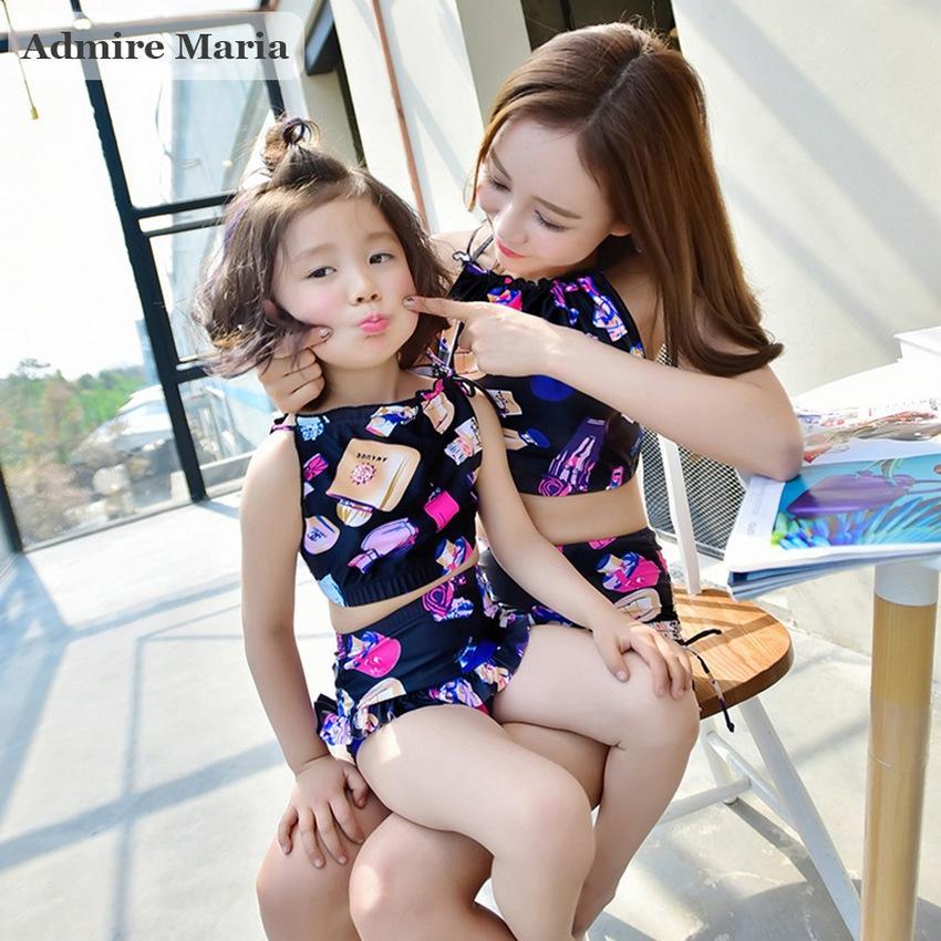Combo đồ bơi sành điệu mẹ (40-68kg) và bé (2-4 tuổi) áo yếm, quần cạp cao B03L-B04L