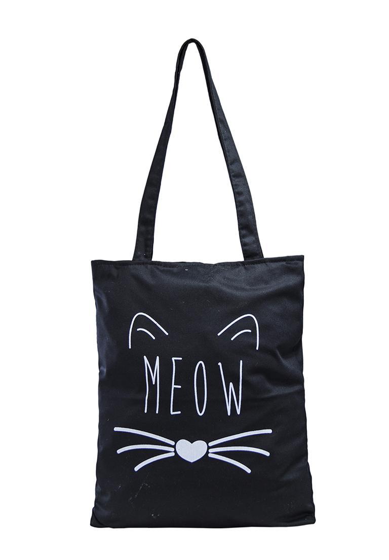 Túi Vải Tote Họa Tiết Meow Đen Xinh Store