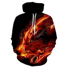 3D Fire Wolf Hoodie Men Hooded Pullover Sweatshirts Men Women Gift S-3XL