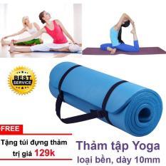 Thảm Tập Yoga Gym Nhập Khẩu Hàn Quốc Vân Sọc 10mm tặng quà túi đựng thảm và dây buộc thảm sang trọng (Nhiều Màu)