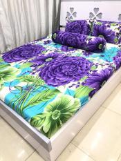 Bộ Drap Thun Thái Hoa mẫu đơn tím vải dày dặn thấm hút tốt.