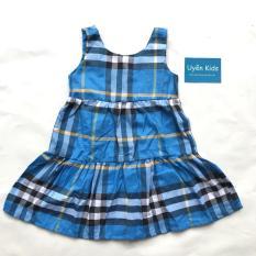 Đầm bé gái kate caro tầng màu xanh 8-30kg
