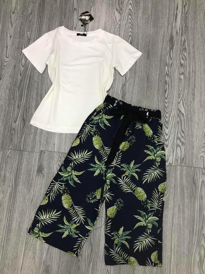 SÉT quần ống rộng in hoa+ áo phông mềm mát Chipxinhxk