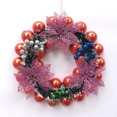 Vòng nguyệt quế châu đỏ D=30cm trang trí Giáng sinh – Noel