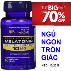 Viên uống hỗ trợ giấc ngủ tự nhiên, giúp ngủ ngon không gây tác dụng phụ Puritan's Pride Extra Strength Melatonin 5mg 60 viên HSD tháng 10/2018
