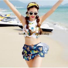 Bikini 2 Mảnh Sắc Màu Họa Tiết Cú Mèo HLAT015 Hoa Lan
