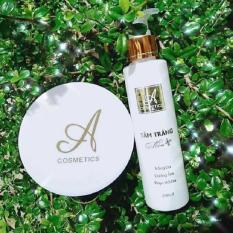Combo tắm trắng và kem body mềm A Cosmetics giúp dưỡng trắng da toàn thân