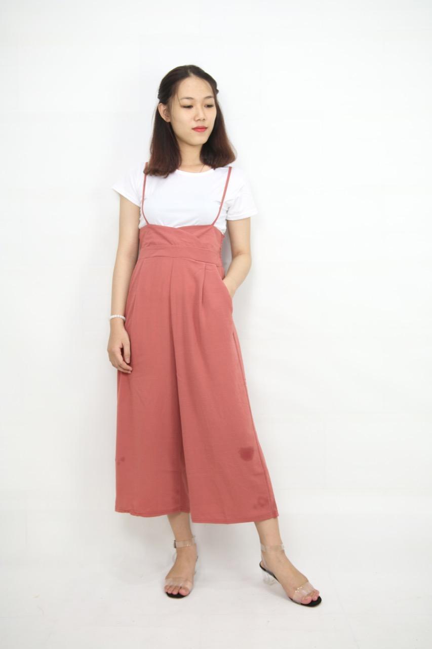 Set áo thun và yếm hồng dây ống rộng girl-121