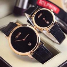 Đồng hồ cặp Guou nữ Hàn Quốc cao cấp (Dây Đen, Mặt Đen)