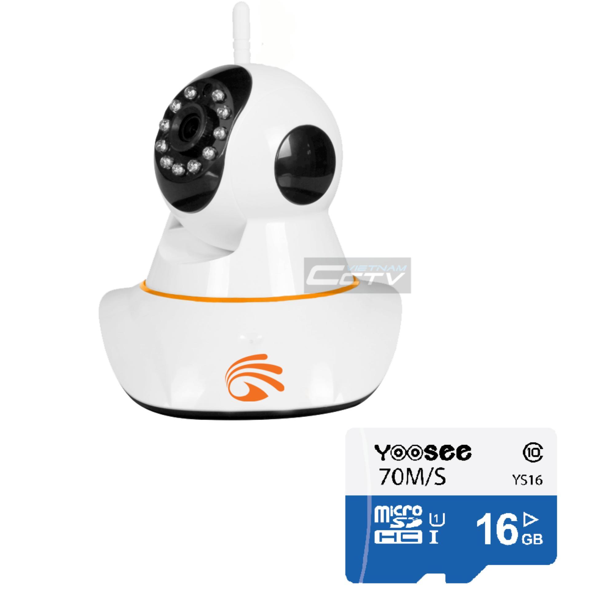 Camera IP wifi YooSee YS900 (trắng ngà) + thẻ nhớ 16GB