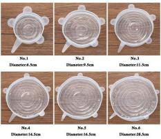 Bộ 6 miếng màng bọc thực phẩm silicon co giãn (màu trắng)
