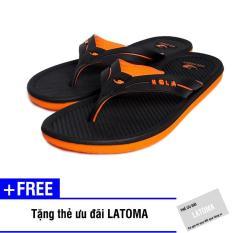 [Có Video Quay Thật] Dép xỏ ngón nam thời trang cao cấp Latoma TA1881 (Đen phối Cam)+ Tặng kèm thẻ ưu đãi Latoma
