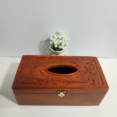 Hộp đựng giấy ăn gỗ hương trạm khắc hổ và đại bàng giá cực sốc