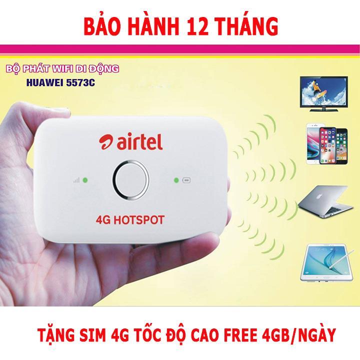 Bộ Phát Wifi 4G HUAWEI E5573C 150Mbs ( Trắng ) - Tặng sim 4G free 4GB/ngày
