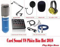 [ Siêu Hay (Tặng tai Nghe Trị Giá 150k) ] Combo karaoke online Card Sound V8, BM900, Bông lọc, Chân đế, Giá gắn mic cáp livestream, Cáp 3.5 cho điện thoại hàng nhập khẩu