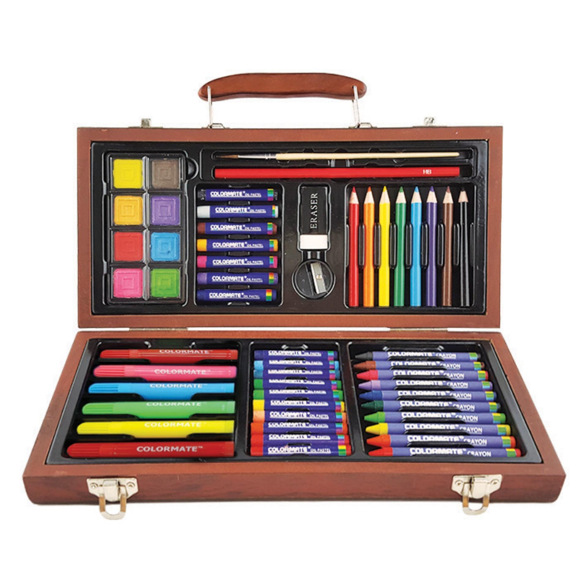 Bộ màu vẽ đa năng hộp gỗ Colormate MS-55W