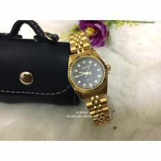 Đồng hồ Nữ Halei mã 365 dây vàng mặt đen