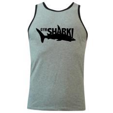 Áo Thun Nam Body Tập Gym Tank Top Viền Gym Shark Màu Xám Size L Cao Cấp Cổ Tròn Đẹp