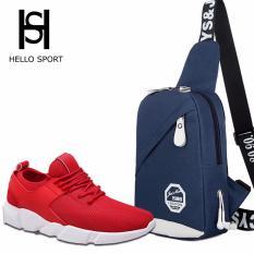 Combo Giày Thể Thao HS 01 và Túi Đeo Chéo Thời Trang HS001 (Xanh)