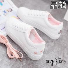 (hàng cao cấp) Giày thể thao nữ giày sneaker nữ thêu mèo xinh xắn (mèo gót hồng)