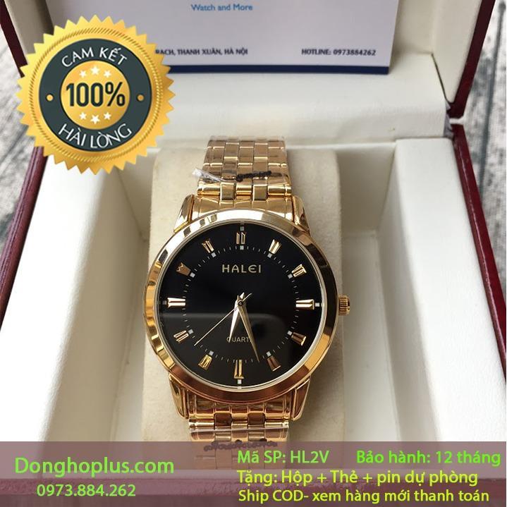 Đồng hồ nam halei 2V vàng chống nước, chống xước