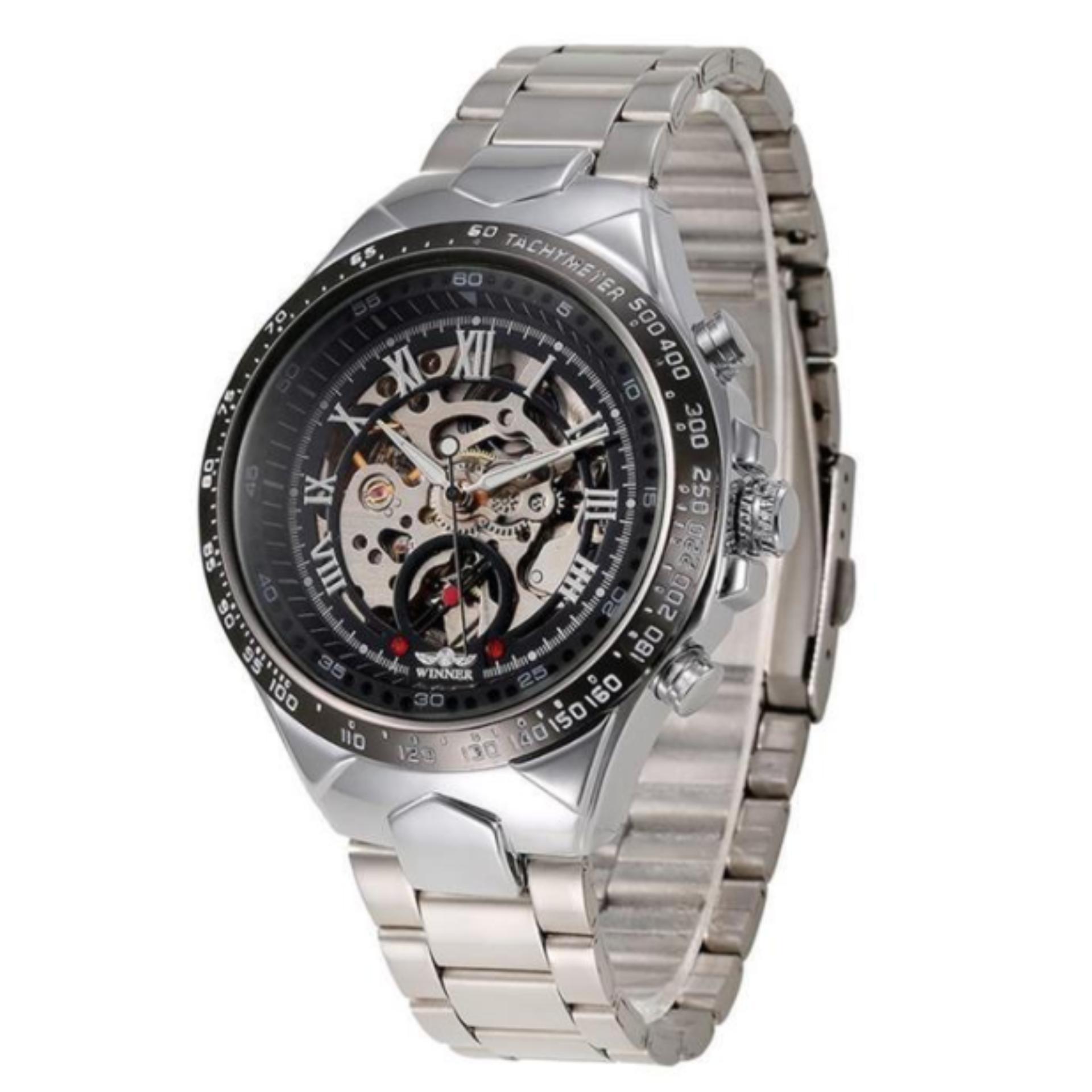 Đồng hồ nam Winner TM340 cơ lộ máy dây thép không gỉ (Đen)