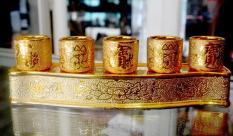 Án năm-Bộ năm ly nước thờ cúng kim sa vàng