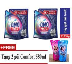 Combo 2 Túi Omo Nước giặt Matic XANH cửa trước 2.7kg + Tặng 02 gói Comfort 580ml/gói