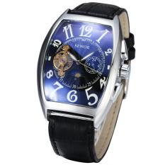 Đồng hồ cơ nam SEWOR dây da lộ máy cổ điển 5 kim JS-SE01