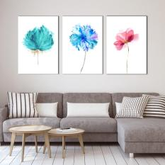 Bộ 3 tranh canvas Hoa hiện đại Trang trí phòng khách hiện đại – khung hình phạm gia PGTK102