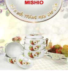 Bộ 5 Nồi Tráng Men Ceramic Cao Cấp Mishio 2018 Trắng