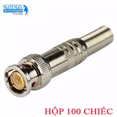 Hộp 100 Jack BNC lõi đồng tín hiệu video chạy trên dây đồng trục cho hệ thống camera giám sát