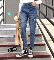 Quần Jeans Nữ Phối Rách Cao Cấp OHS3045