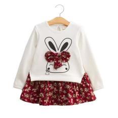 Váy cotton dài tay hình nơ tai thỏ cho bé gái 1-6 tuổi