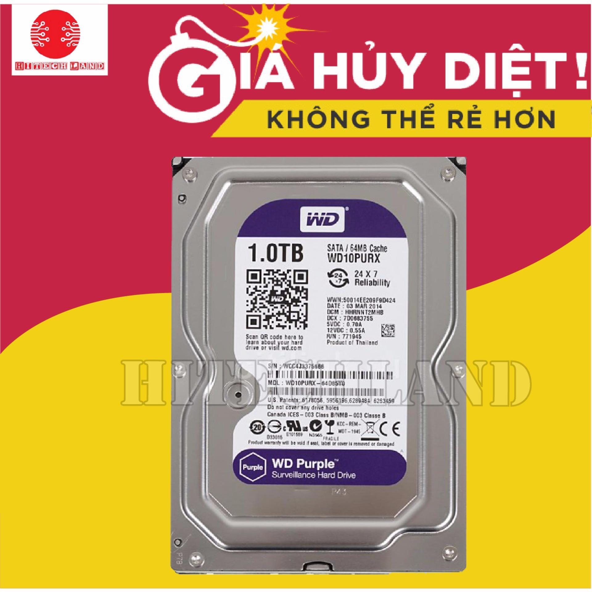 Bảng Giá Ổ cứng WD Purple 1TB WD10PURZ – Loại ổ tím chuyên dụng (Bảo hành 3 năm) Tại HITECH LAND COMPANY