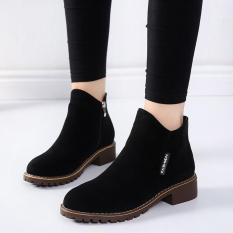 Giày Bốt Nữ Cổ Ngắn 3Fashion Shop Khóa Kéo Da Mềm Êm Chân – 3099