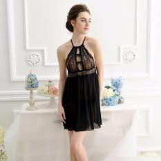 Đầm Ngủ Voan Thun Ren Hoa Ngực Quyến Rủ Chodeal24h CDAN59 – Đen