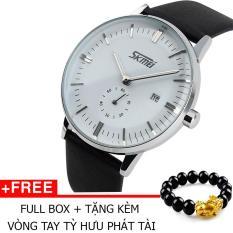 Đồng Hồ Thời Trang Skmei 9083 Dây Da 001 (Trắng) + Tặng Kèm Vòng Tay Tỳ Hưu Phát Tài