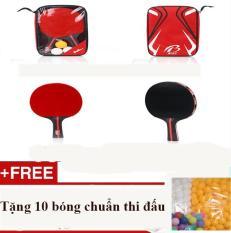 Bộ 2 Vợt bóng bàn phổ biến và ưa thích tại thị trường Trung Quốc + Tặng 10 bóng chuẩn thi đấu
