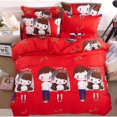 Bộ chăn ga gối Hàn Quốc cô dâu đỏ 180 x 200