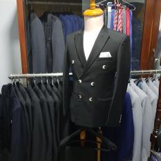 Bộ vest nam màu đen kiểu 6 nút cổ điển lịch lãm