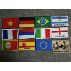 Patch velcro vải thêu cờ Đức, cờ Euro, cờ Braxin, cờ Pháp, Bồ Đào Nha, Tây Ban Nha, Nga dán trang trí đồ lính
