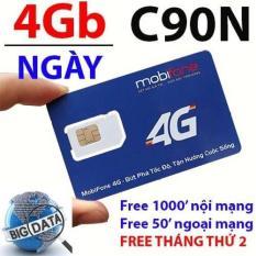 *Sim 4G MOBI C90N (1 ngày 4gb tốc độ siêu khủng) . Tặng 120 GB và 1000 phút miễn phí/tháng. -Chuẩn Mobifone