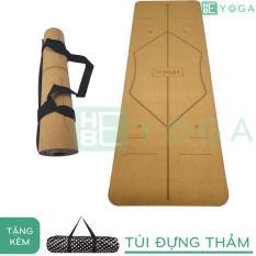 Thảm Yoga Định Tuyến Gỗ Bần Cao Cấp 5mm Tặng Kèm Túi và Dây Đeo Thảm