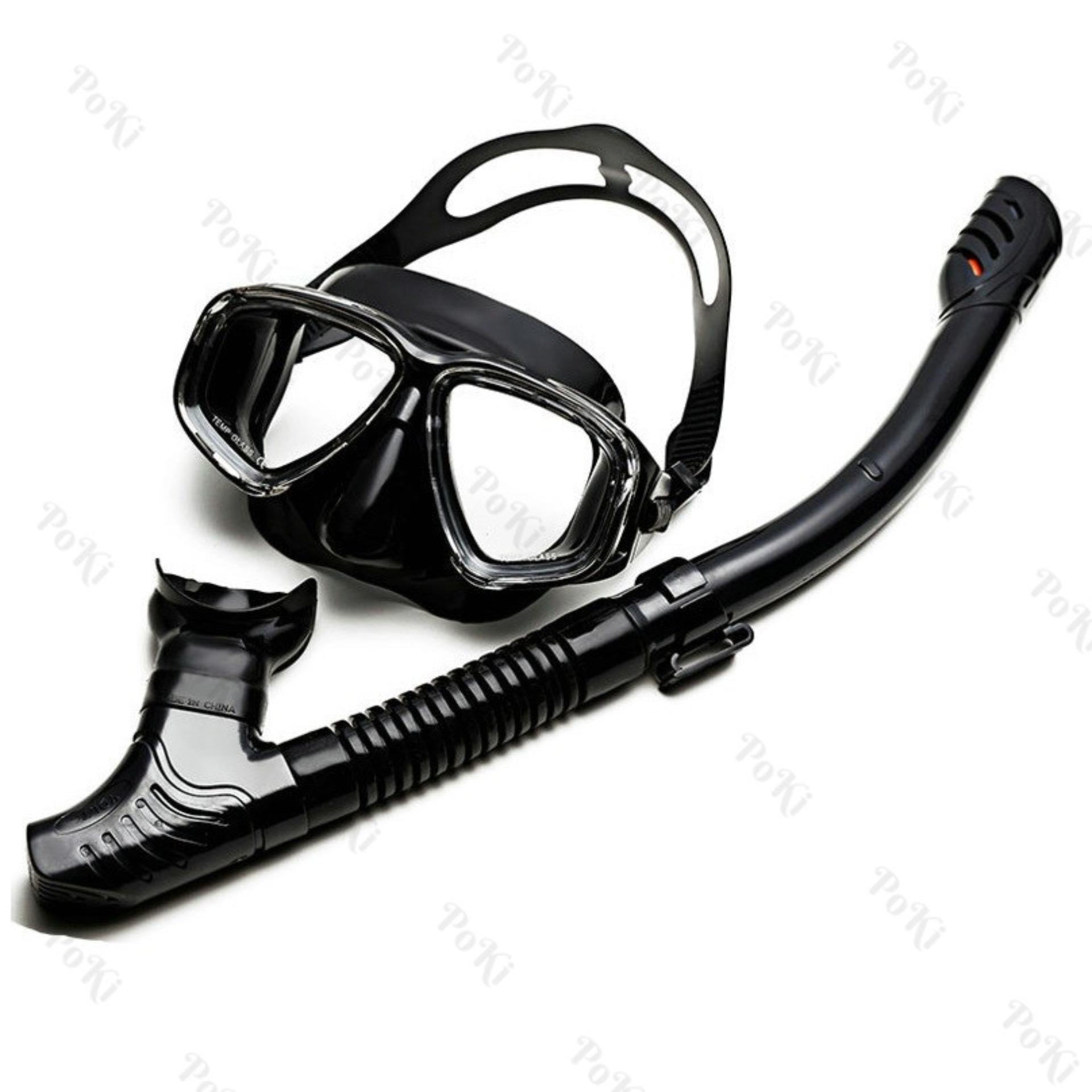 Bộ kính lặn Ống thở S301 - mắt KÍNH CƯỜNG LỰC, ống thở van 1 chiều ngăn nước, đồ thể...