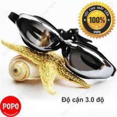 Kính bơi CẬN 3.0 độ, tráng GƯƠNG, chống UV, chống HẤP HƠI, thời trang cao cấp + Quà Tặng 3M POPO Collection